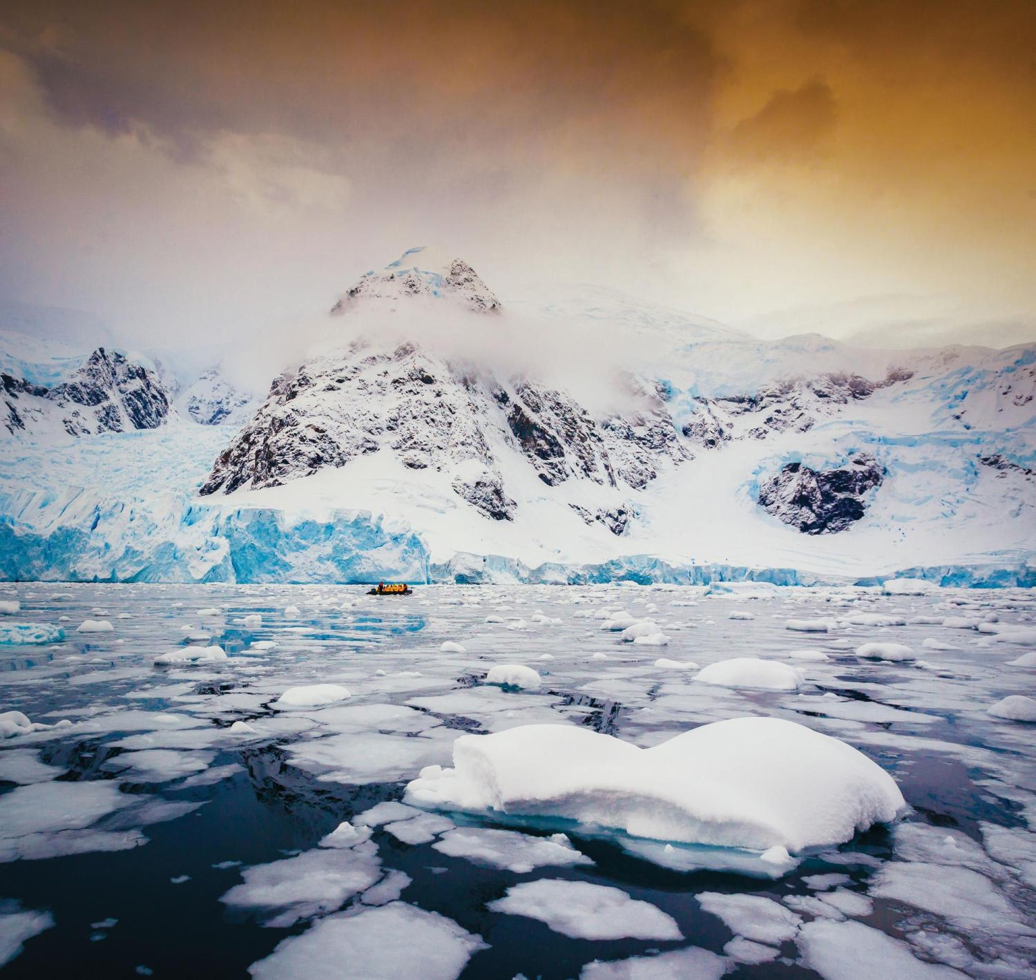 Landscape shot of Antarctica at sunset