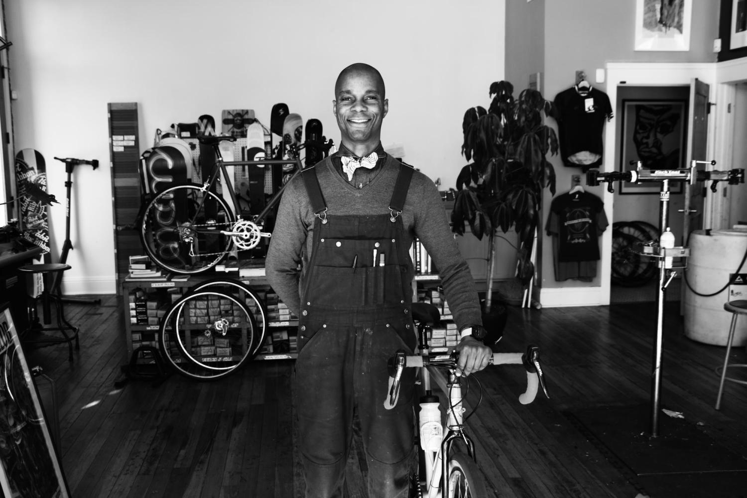 Gregory Crichlow in his bike shop called Chocolate Spokes