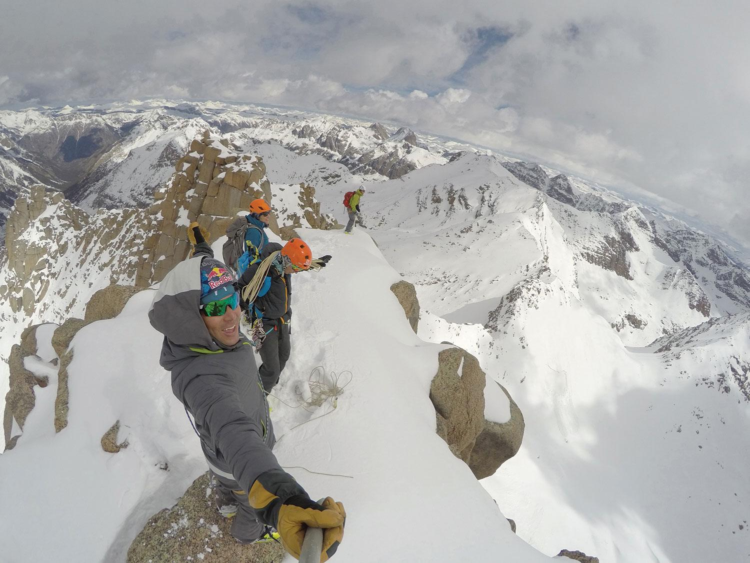 Chris Davenport, Christy and Ted Mahon summiting Jagged Mountain