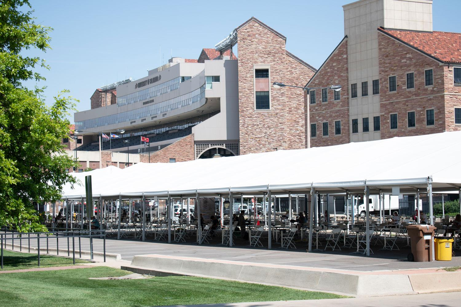 Tent with Folsom Field in the Backgroudn
