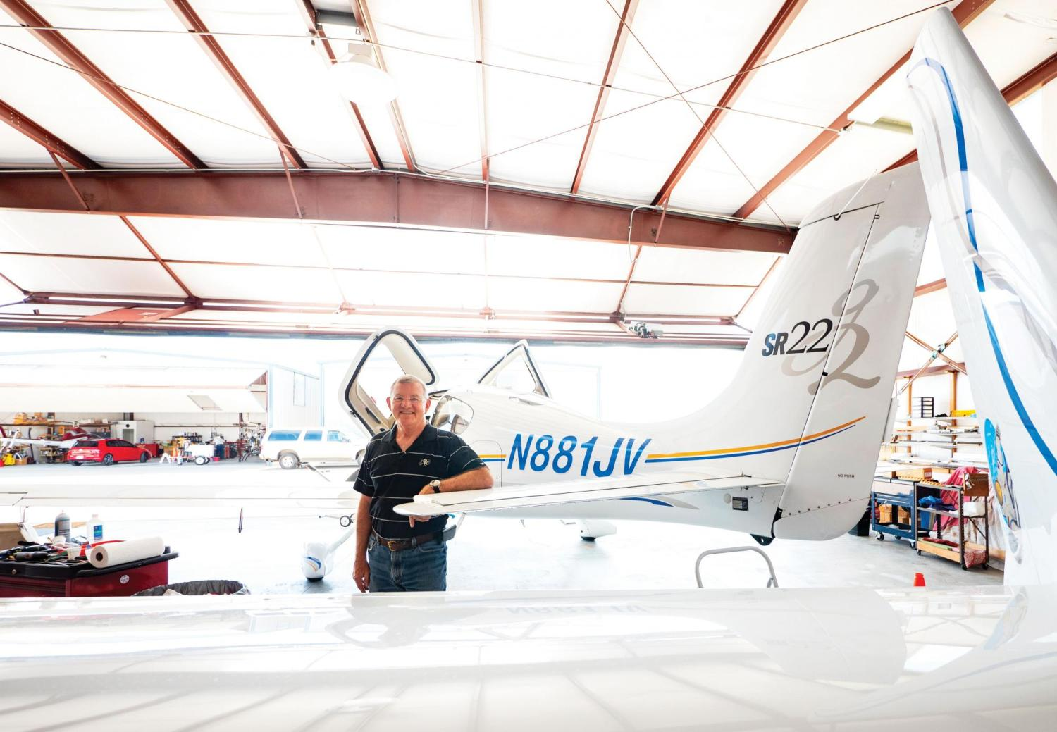 Jim Voss in front of his Airplane