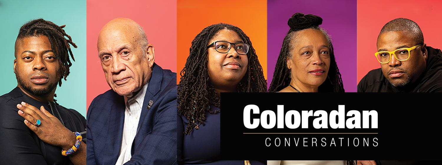 Portraits of Coloradan Conversation essayists in front of a colorful background