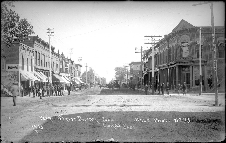 a vintage image of Pearl Street, Boulder, Colorado