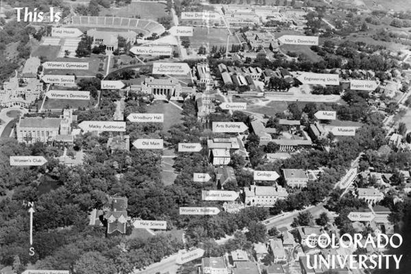 Aerial postcard of CU campus