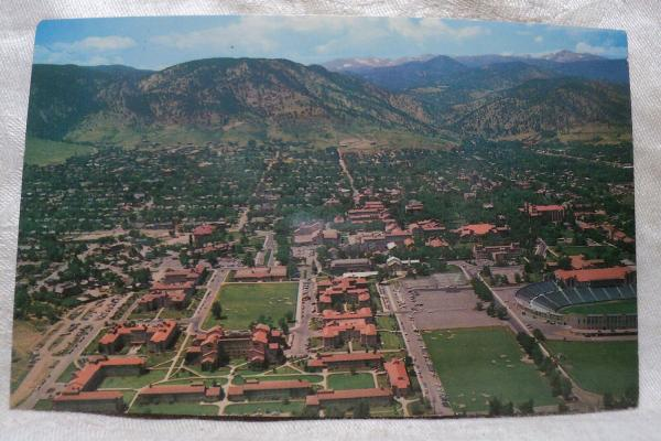 Aerial postcard above CU Campus