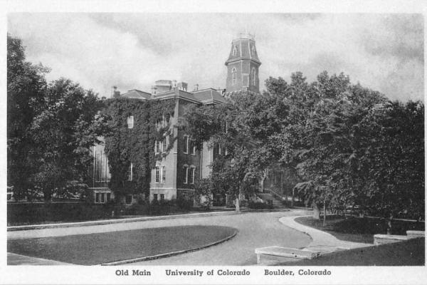 Old Main postcard at CU Boulder