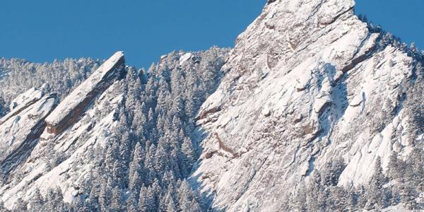 Flatirons covered in snow