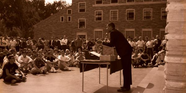 Charles Nilon speaks on CU Boulder campus after the March on Washington