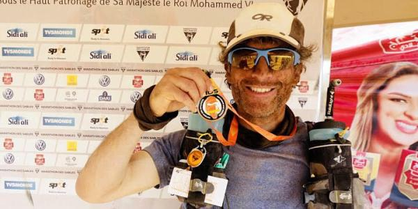 Ultra-runner Corey at the finish of a 156-mile race