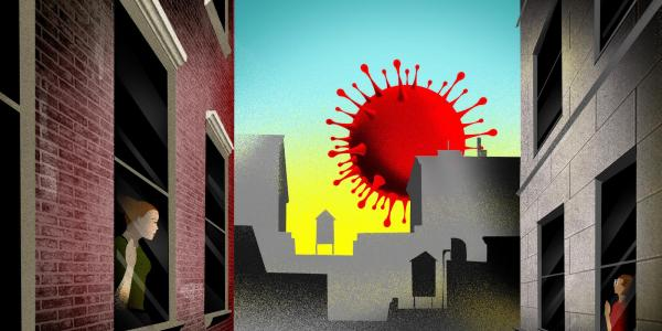 an illustration by Brian Stauffer showing a virus cell above a city skyline with two people looking out their windows.