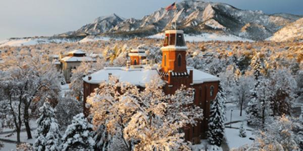 cu boulder aerial shot in snow