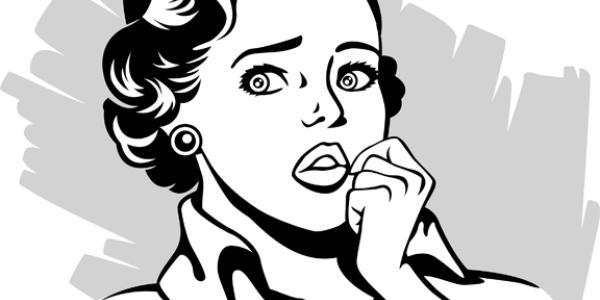 drawing of anxious woman