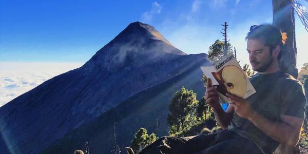 Paolo reading the latest Coloradan Magazine