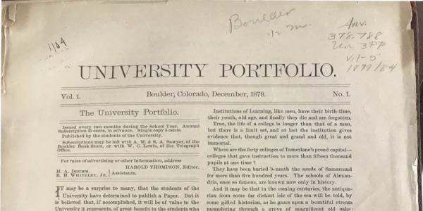 vintage student newspaper with University Portfolio printed as the headline