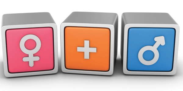 Cubes with gender symbols on them