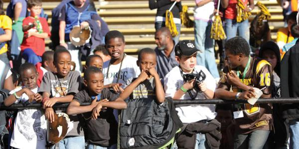elementary school students at buffs game