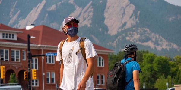 student in mask at CU Boulder