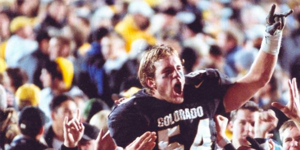 Sean Tufts celebrating a CU victory