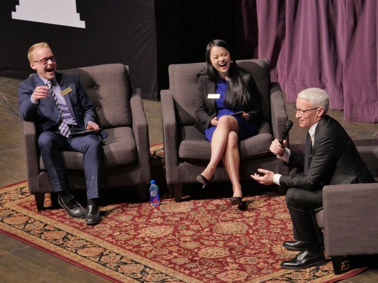Anderson Cooper with students at Macky Auditorium