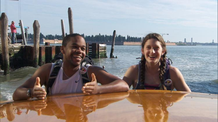 Floyd and Becca in a boat