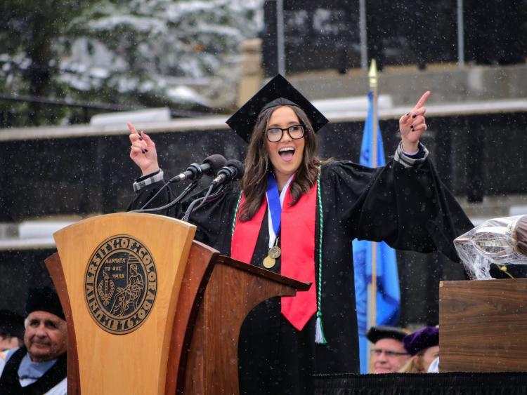 Photograph of CU's commencement speaker
