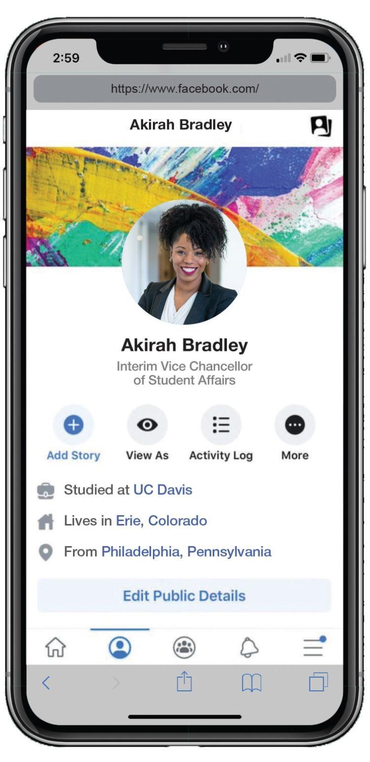 akirah bradley with a cellphone facebook profile