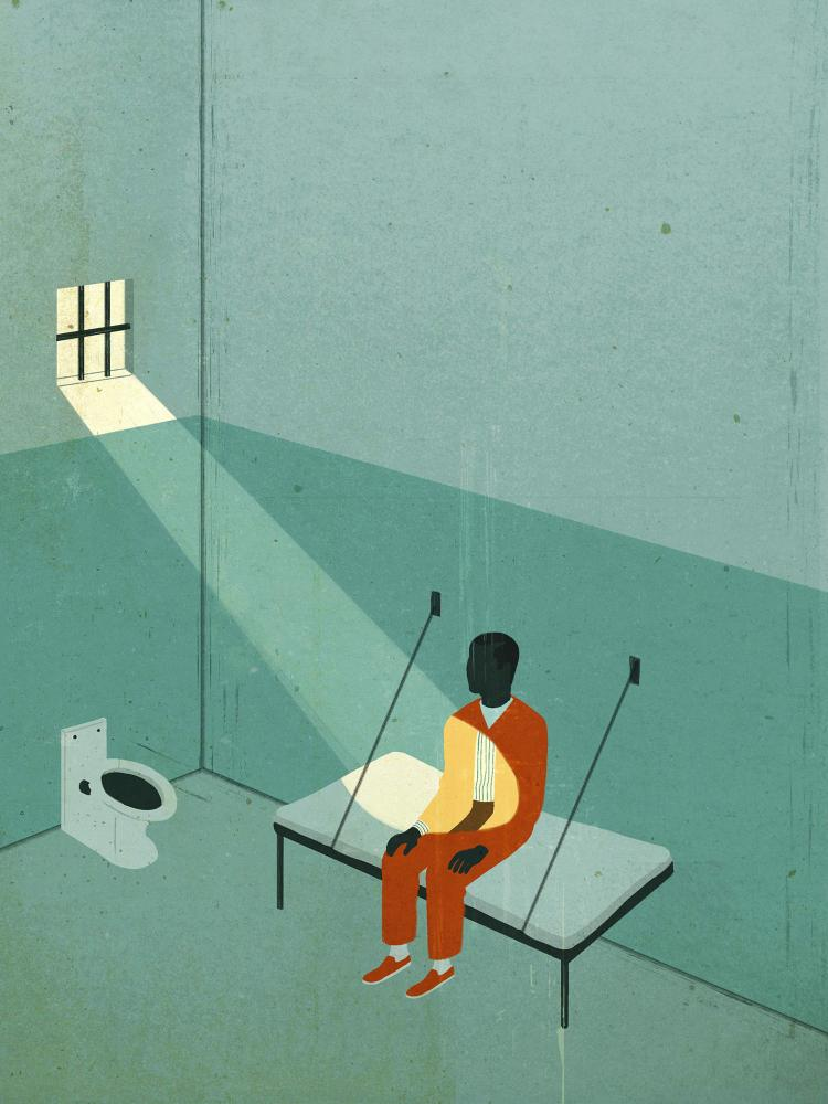 illustration of incarcerated person sitting in cell