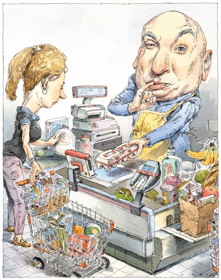 Illustration of Dr. Evil as grocery checker