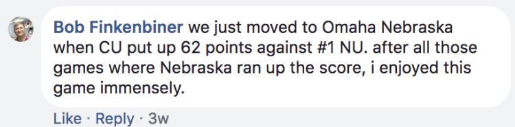facebook comment about nebraska game