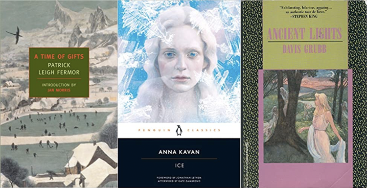 Covers of A Time of Gifts, Ice, and Ancient Lights
