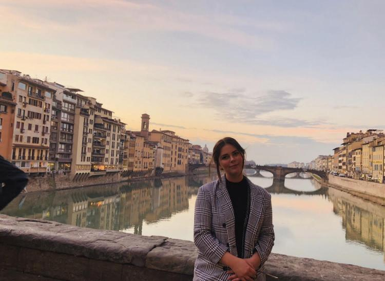 CU student at Ponte Vecchio while studying abroad in Florence, Italy.
