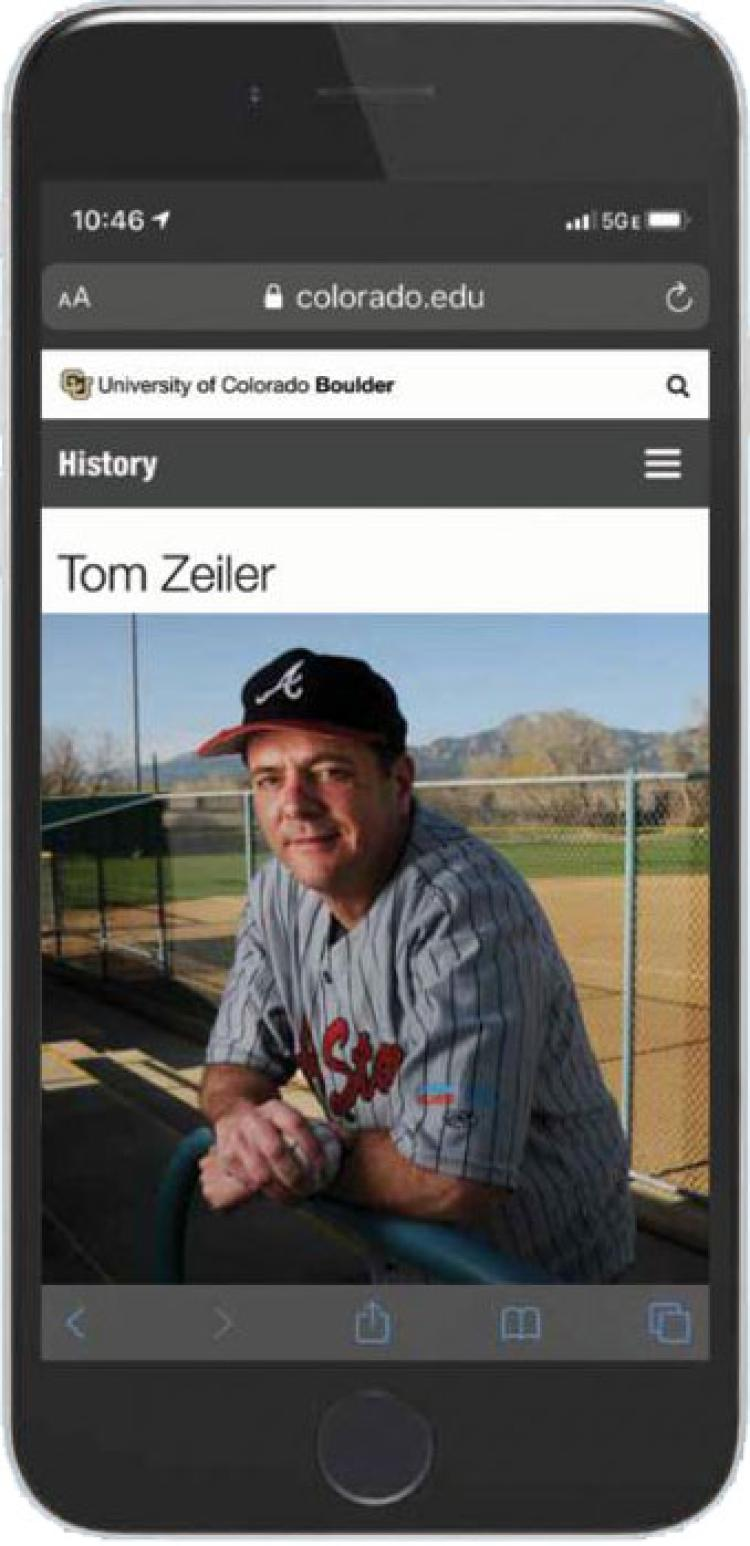 Tom Zeiler pictured in a cellphone
