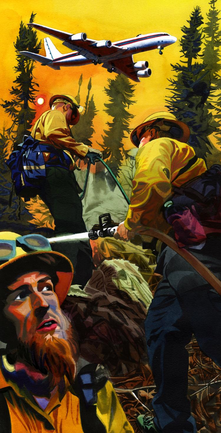 illustration by Jeffrey Smith of firefighters fighting a wildfire