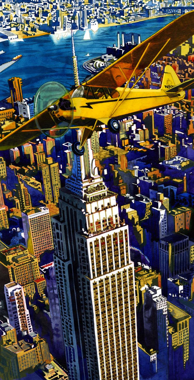 illustration by Jeffrey Smith with a plane and a skyline