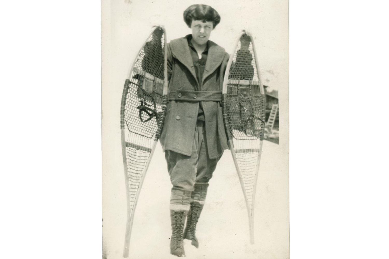 A Hiking Club member, circa 1919, snowshoeing