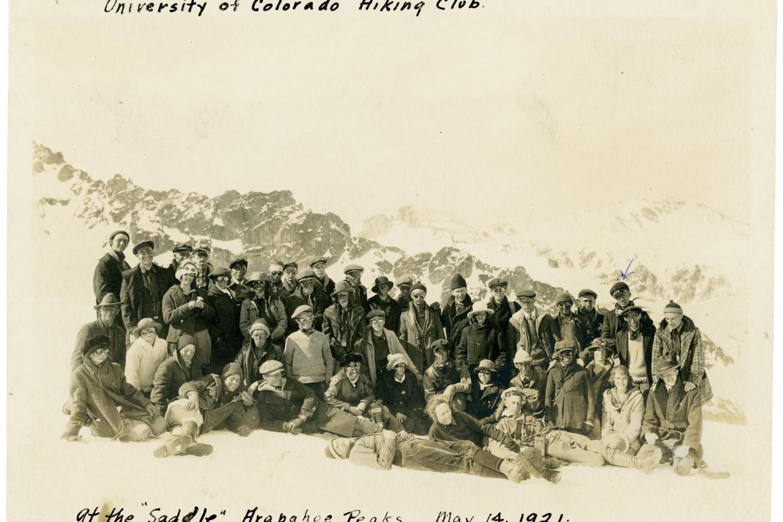 Hiking Club at Arapahoe Peaks Saddle in 1921
