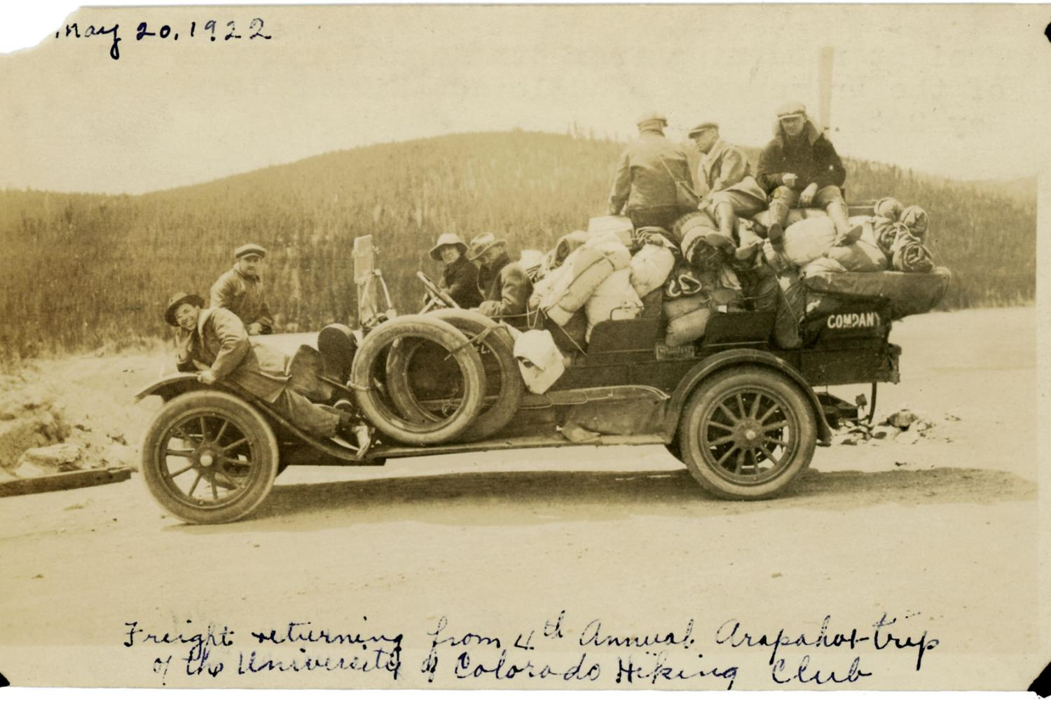 Students driving back from a hike in 1922