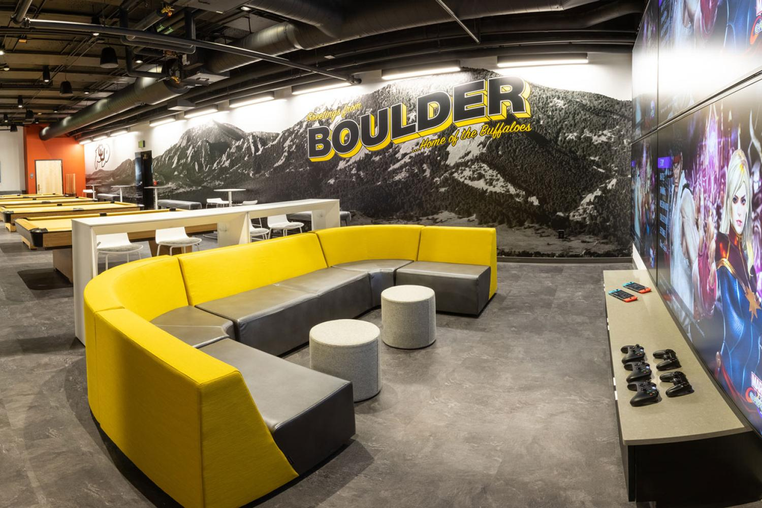 The Connection renovated lounge and mural