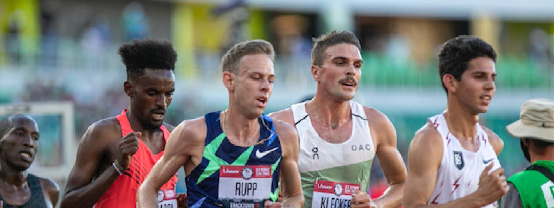 Joe Klecker runs in a race.