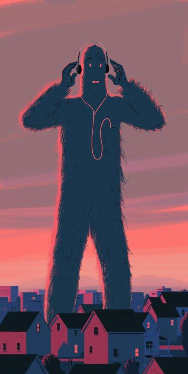 Illustration of Bigfoot listening to a podcast
