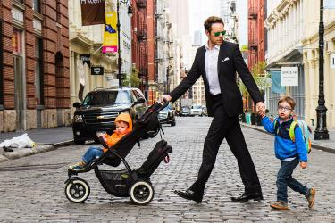 Gavin walking with his kids