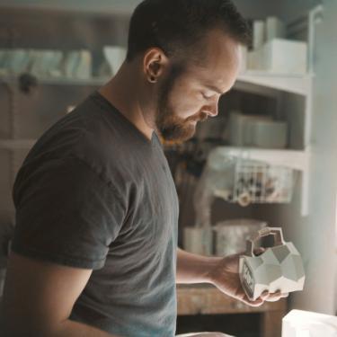 Hamerly in his workshop