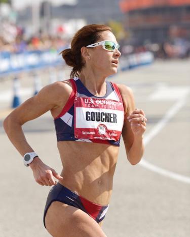 Kara Goucher competes in a race.