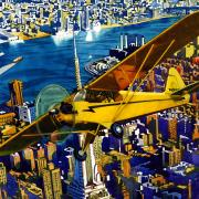 illustration by Jeffrey Smith of a plane in front of a skyline