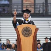 Eric Stough speaking during spring commencement