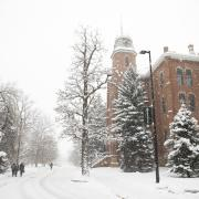 Snowy weather outside Old Main Building