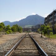 Train track with flatirons