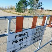 No trespassing sign oil field
