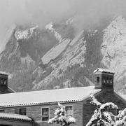 Cloudy black and white flatirons