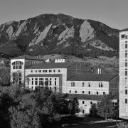 view of campus black and white